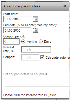 payment amount is optional you can just click on automatic calculation and coupon payments will be calculated automatically